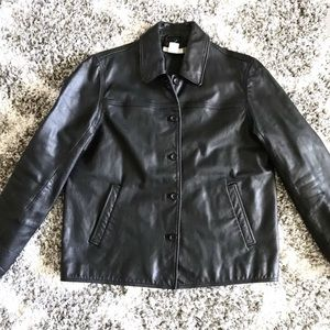 Vintage J Crew Leather Button Up Jacket Coat